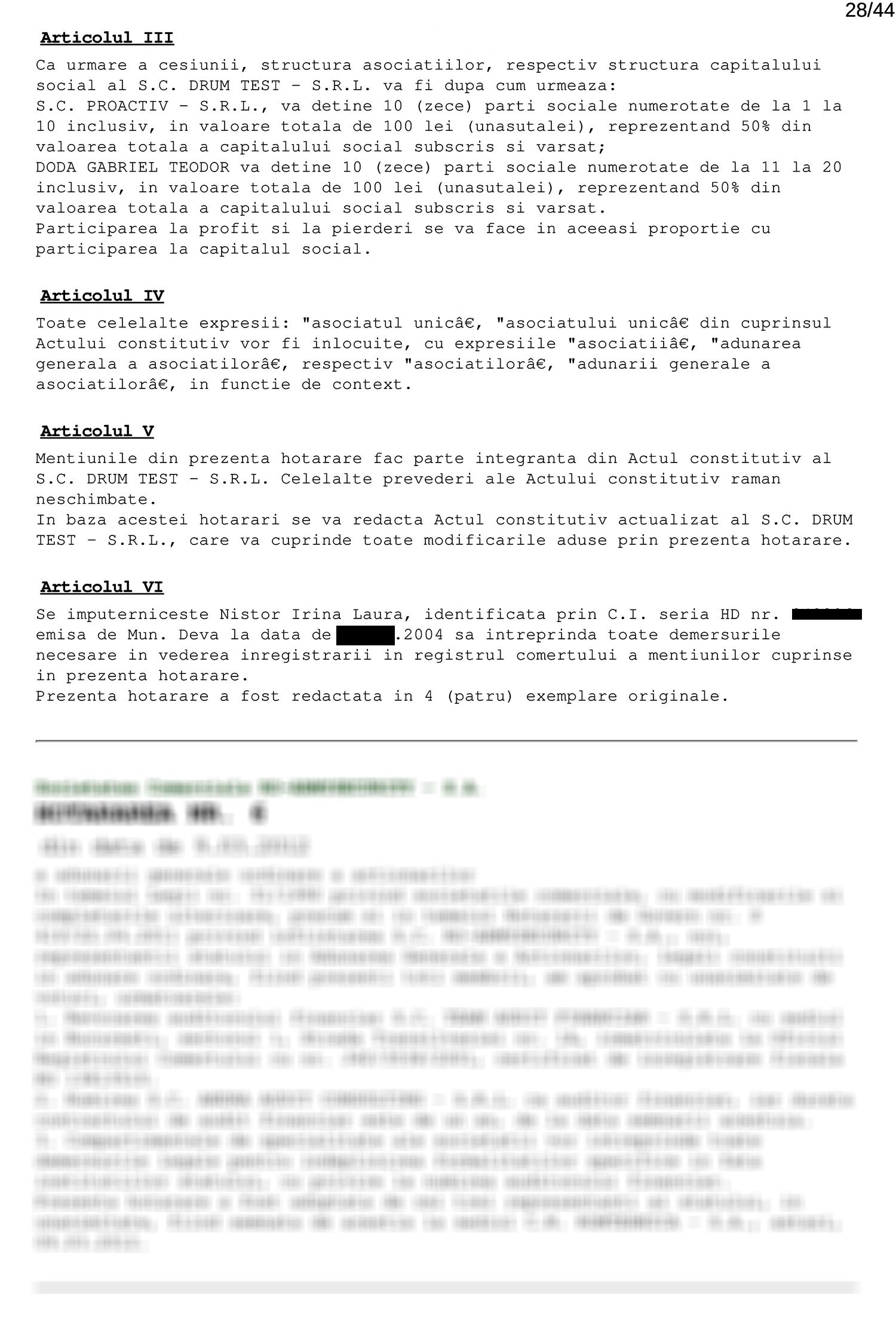 Răscumpărare părţi sociale Drum Test SRL (II)