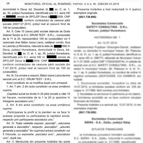 Vânzare părţi sociale Drum Test SRL (II)